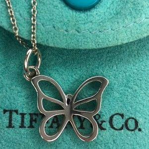 Sterling Silver Butterfly Pendant  Necklace 17""